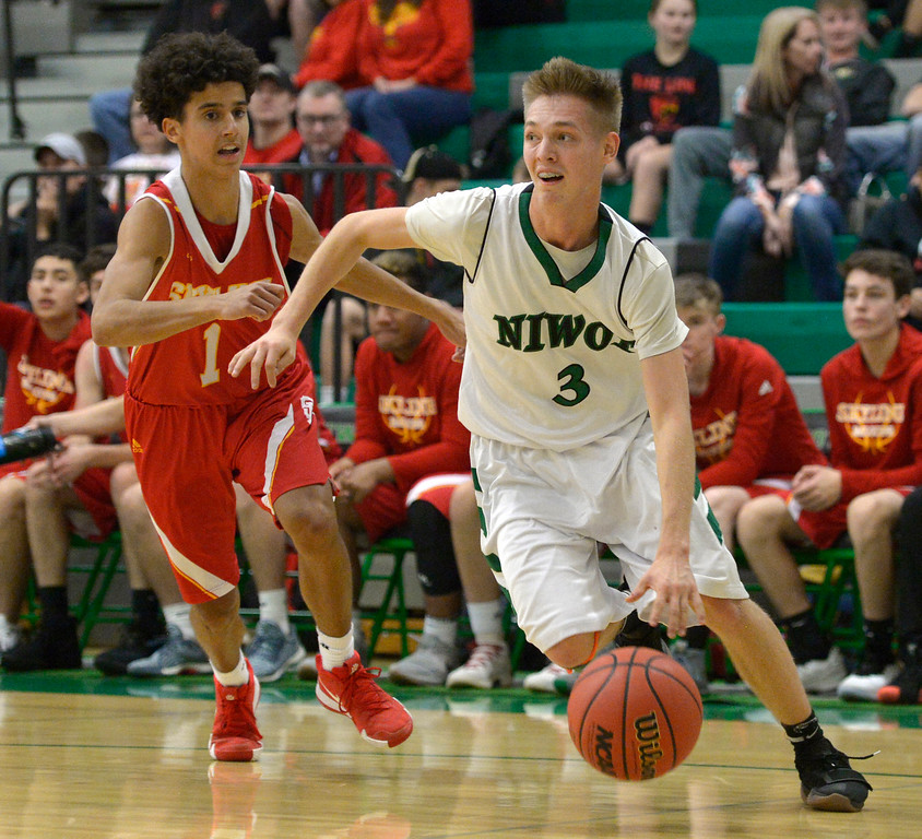 . NIWOT, CO - DECEMBER 11: Niwot\'s Alex Erikson drives past Skyline\'s Chris Roy in the second quarter at Niwot High School December 11, 2018. To view more photos visit bocopreps.com. Skyline won 58-39. To view more photos visit bocopreps.com. (Photo by Lewis Geyer/Staff Photographer)