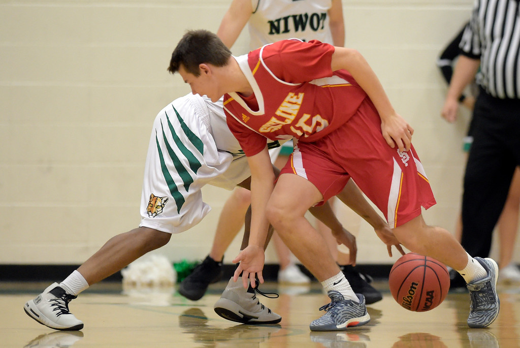 . NIWOT, CO - DECEMBER 11: Niwot\'s Kyle Reeves knocks the ball away from Skyline\'s Chase Silva in the first quarter at Niwot High School December 11, 2018. To view more photos visit bocopreps.com. Skyline won 58-39. To view more photos visit bocopreps.com. (Photo by Lewis Geyer/Staff Photographer)