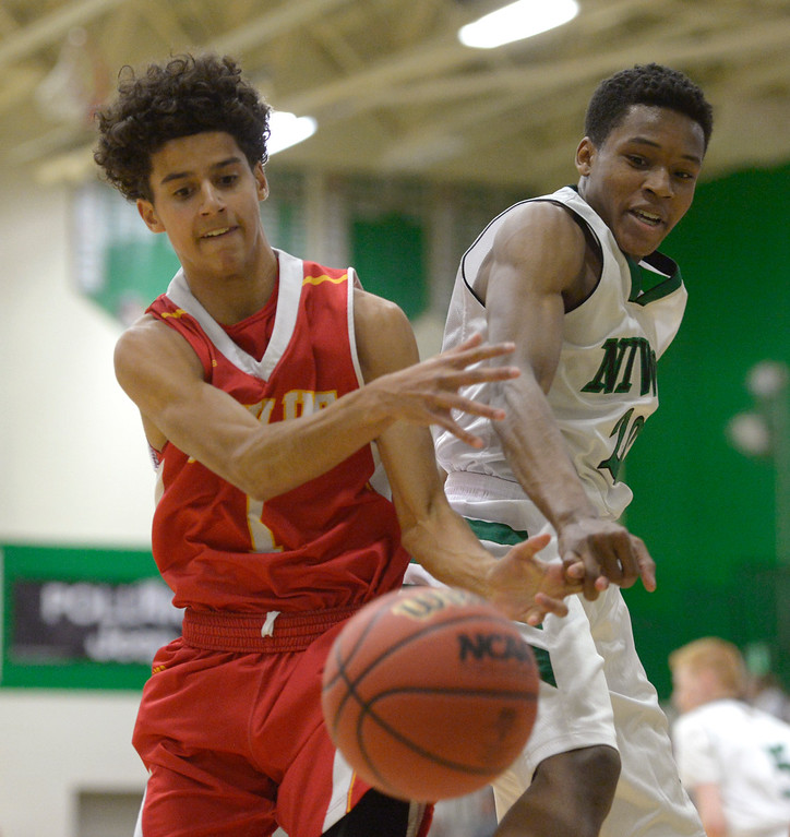 . NIWOT, CO - DECEMBER 11: Skyline\'s Chris Roy and Niwot\'s Kyle Reeves lose the ball out of bounds in the first quarter at Niwot High School December 11, 2018. To view more photos visit bocopreps.com. Skyline won 58-39. To view more photos visit bocopreps.com. (Photo by Lewis Geyer/Staff Photographer)