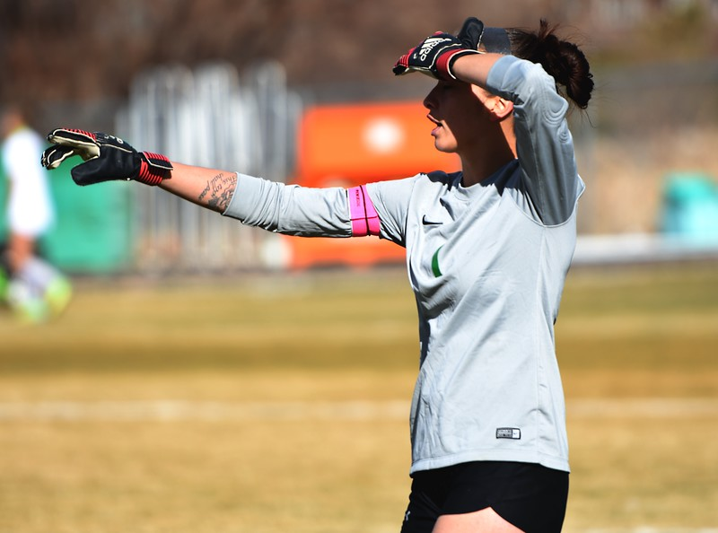 Niwot goalkeeper Allie Colvin directs her defense prior to a corner kick during the Cougars' game against Skyline on Tuesday, March 20, in Niwot.