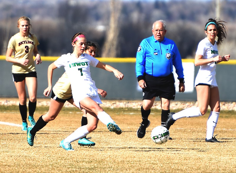 Niwot's Ava Dumler passes to a teammate during the Cougars' game against Skyline on Tuesday in Niwot.