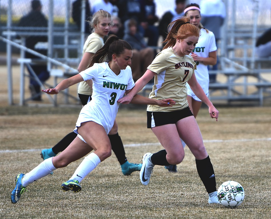 Skyline's Casey Erickson tries to get past Niwot's Lauren Cranny on Tuesday at Niwot.