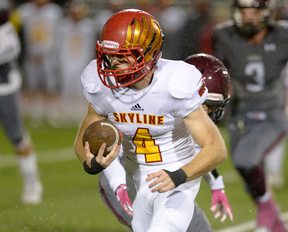 . LONGMONT, CO - OCTOBER 5: Skyline\'s Kyle West carries the ball against Silver Creek in the first quarter at Everly-Montgomery Field Oct. 05, 2018. (Photo by Lewis Geyer/Staff Photographer)