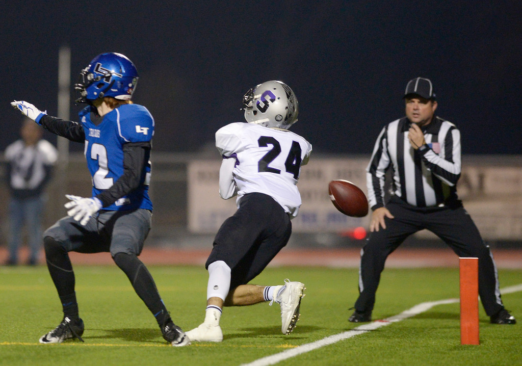 . A touchdown pass to Skyview\'s Oswaldo Padilla goes incomplete as Longmont\'s Grant Rulon covers in the second quarter Friday night at Everly-Montgomery Field. To view more photos visit bocopreps.com. Lewis Geyer/Staff Photographer Nov. 10, 2017