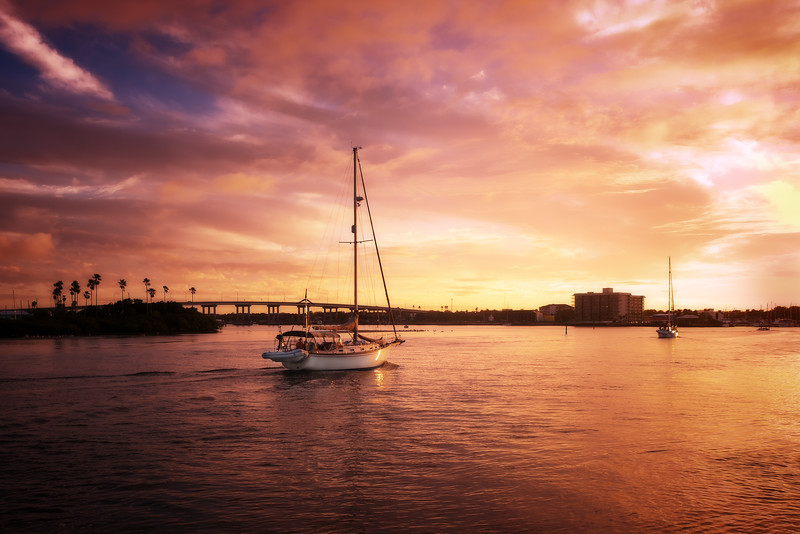Sunset View of South Causeway, New Smyrna Beach, Florida