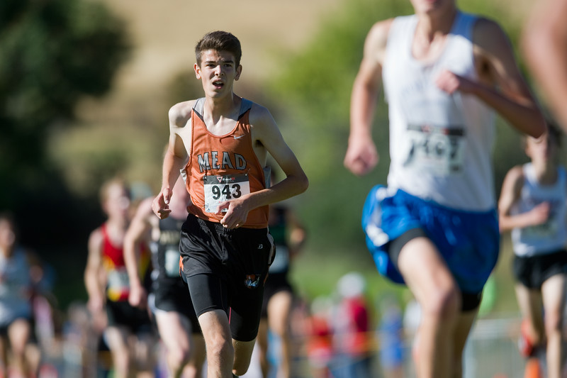 "Justin McDaniel, of Mead High School, runs towards the finish line while competing in the St. Vrain Invitational Cross Country Meet at Lyons Middle/Senior High School in Lyons on Saturday. <br /> More photos:  <a href=""http://www.BoCoPreps.com"">http://www.BoCoPreps.com</a><br /> (Autumn Parry/Staff Photographer)<br /> September 10, 2016"