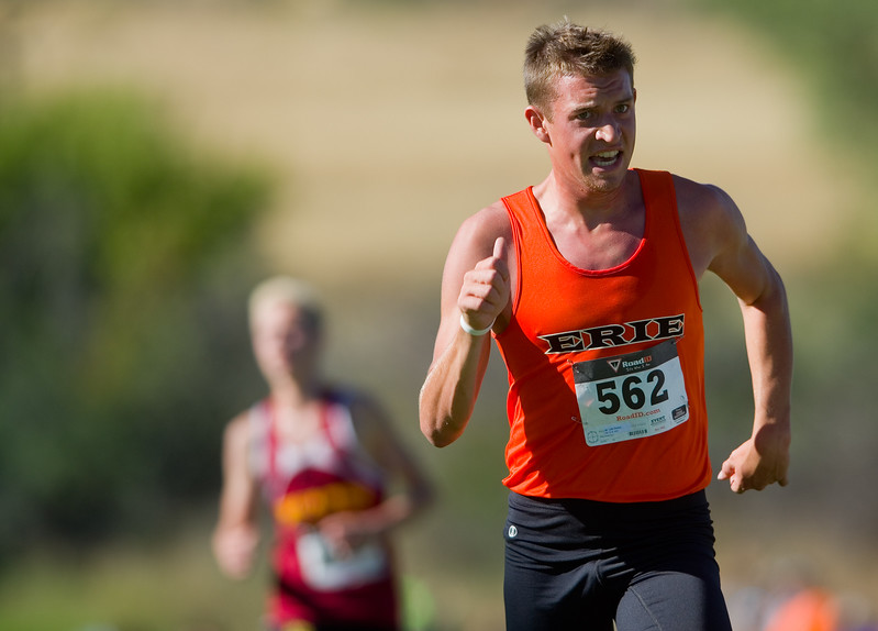 "Luke Simeon, of Erie High School, competes in the St. Vrain Invitational Cross Country Meet at Lyons Middle/Senior High School in Lyons on Saturday. <br /> More photos:  <a href=""http://www.BoCoPreps.com"">http://www.BoCoPreps.com</a><br /> (Autumn Parry/Staff Photographer)<br /> September 10, 2016"