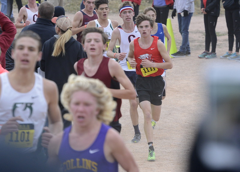 Loveland's Zac Witman (1133) runs the 5A boys state cross country championship on Saturday in Colorado Springs.
