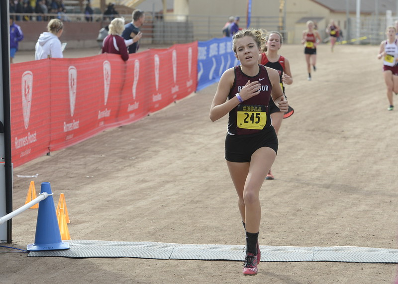 Berthoud's Alex Schultz finishes the 3A girls state cross country championship on Saturday in Colorado Springs.