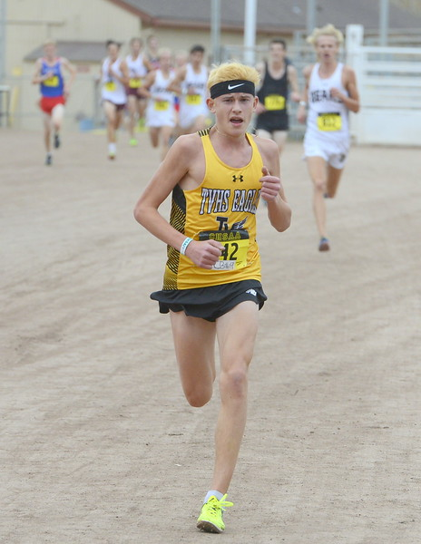 Thompson Valley's Dylan Schubert heads toward a 13th place finish in the 4A boys state cross country championship on Saturday in Colorado Springs.