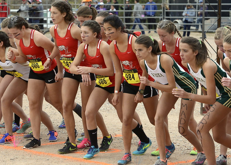 The Loveland girls cross country team gets ready to run in the 5A state championship on Saturday in Colorado Springs.