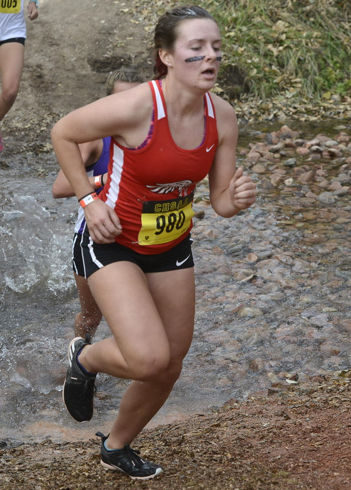 Loveland's Maci Ames competes in the 5A girls state cross country championship on Saturday in Colorado Springs.