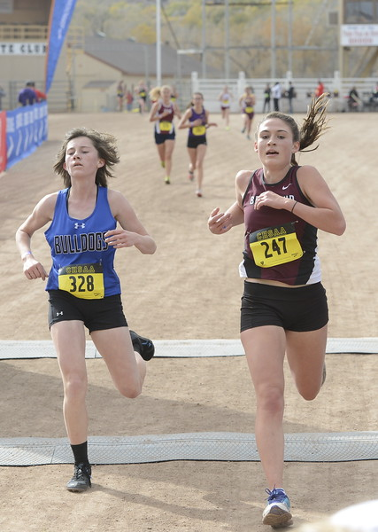 Berthoud's Maycee White (247) finishes the 3A girls state cross country championship on Saturday in Colorado Springs.