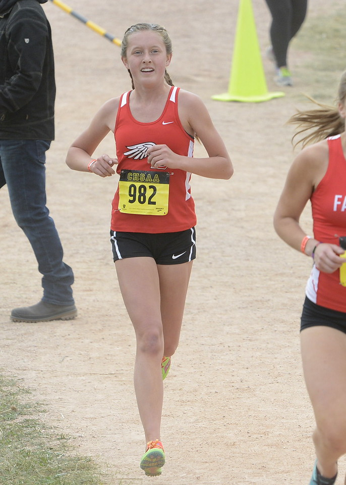 Loveland's Alix Huhta competes in the 5A girls state cross country championship on Saturday in Colorado Springs.