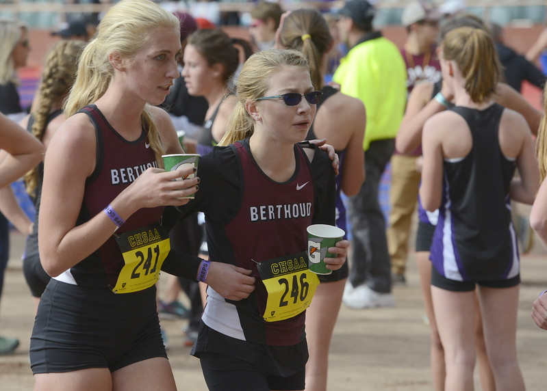 Berthoud's Cailey Archer, left, and Ellie Sundheim after finishing the 3A girls state cross country championship on Saturday in Colorado Springs.