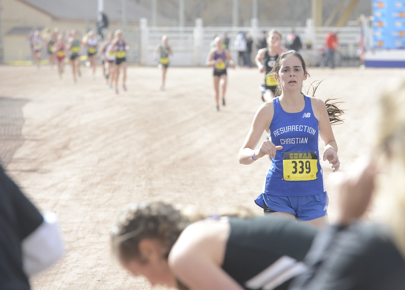 Resurrection Christian's Ellie Fantauzzo (339) finishes the 3A girls state cross country championship on Saturday in Colorado Springs.