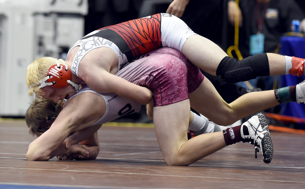 . Remington Canfield, bottom, of Merino, battles with James Steerman, of McClave, during the Colorado Wrestling State Championships finals on February 18, 2017. For more photos, go to www.BoCoPreps.com. Cliff Grassmick / Staff Photographer / February 18, 2017