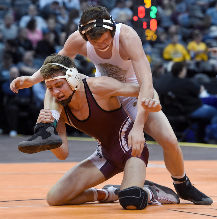 . Brandon, top, of Holy Family,  takes on Bailey, of Berthoud,during the Colorado Wrestling State Championships finals on February 18, 2017. For more photos, go to www.BoCoPreps.com. Cliff Grassmick / Staff Photographer / February 18, 2017