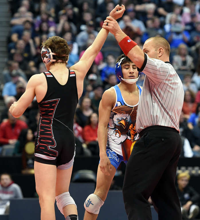. Darren Green, right, of Broomfield, loses to Colton Yapoujian, of Pomona, in 5A 120-pounds during the Colorado Wrestling State Championships finals on February 18, 2017. For more photos, go to www.BoCoPreps.com. Cliff Grassmick / Staff Photographer / February 18, 2017