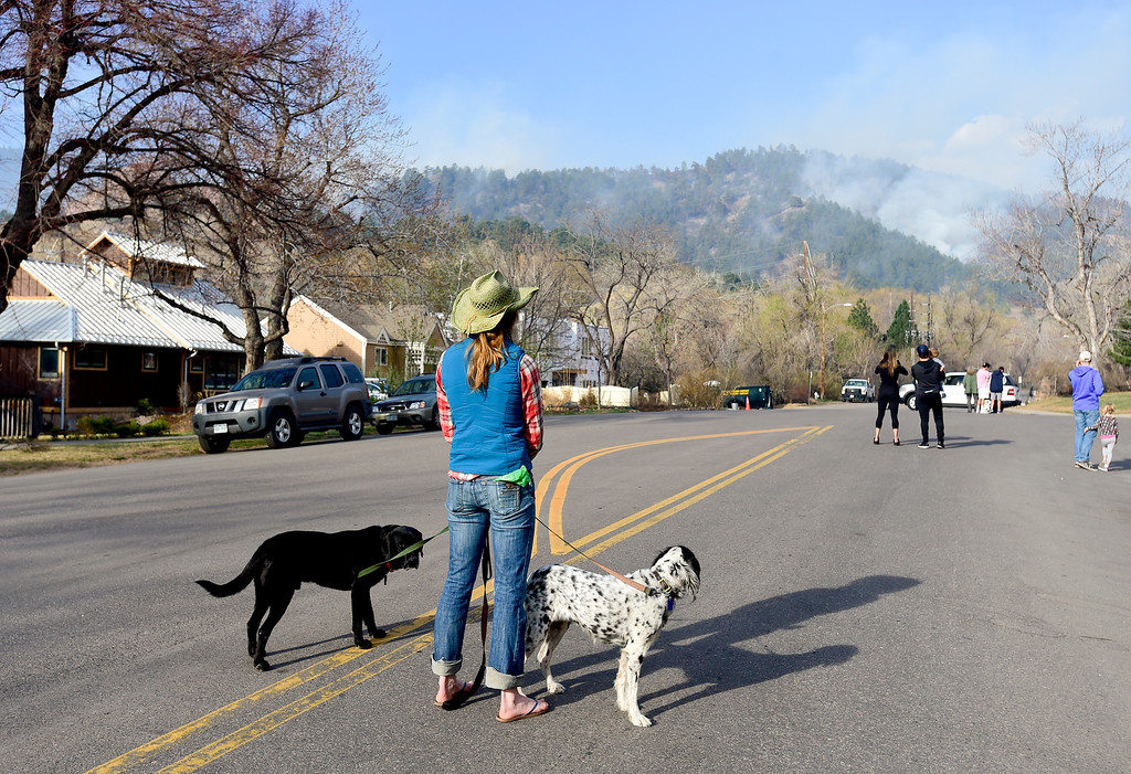 . Mimi Mather, of Boulder, watches smoke rise from the Sunshine Canyon fire with her dogs Lucy, right, and Rio, left, from Sunshine Canyon Drive in Boulder on Sunday. More photos: DailyCamera.com. Matthew Jonas/Staff Photographer March 19,  2017