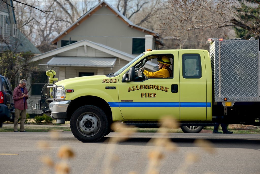 . An Allenspark brush truck is seen on Sunshine Canyon Drive in Boulder on Sunday. More photos: DailyCamera.com. Matthew Jonas/Staff Photographer March 19,  2017