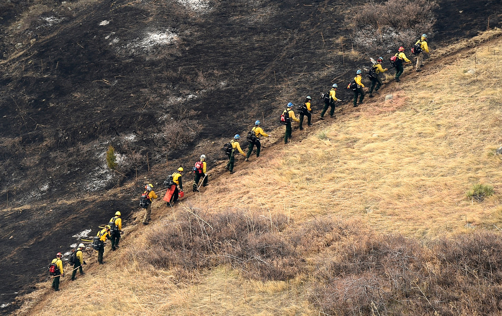 . Crews battle the Sunshine Fire in the Sunshine canyon area of Boulder, Colo. on Sunday, March 19. For more photos of the Sunshine Fire go to www.dailycamera.com Jeremy Papasso/ Staff Photographer/ March 19, 2017