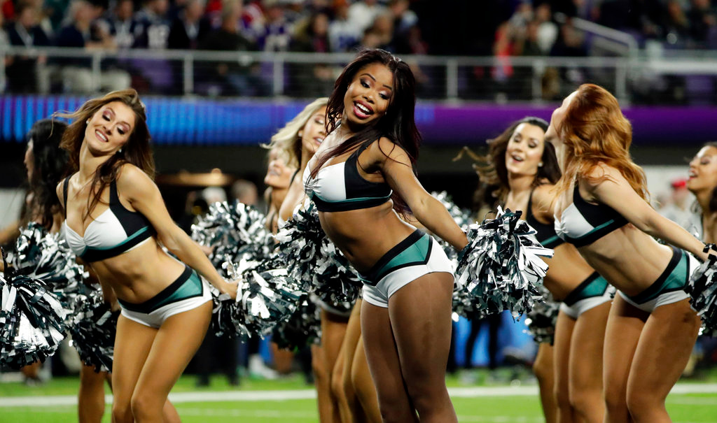 . Cheerleaders perform, during the first half of the NFL Super Bowl 52 football game against the New England Patriots, Sunday, Feb. 4, 2018, in Minneapolis. (AP Photo/Frank Franklin II)