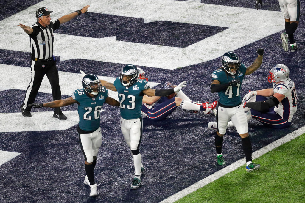 . Philadelphia Eagles celebrate after the NFL Super Bowl 52 football game against the New England Patriots, Sunday, Feb. 4, 2018, in Minneapolis. The Eagles won 41-33. (AP Photo/Eric Gay)