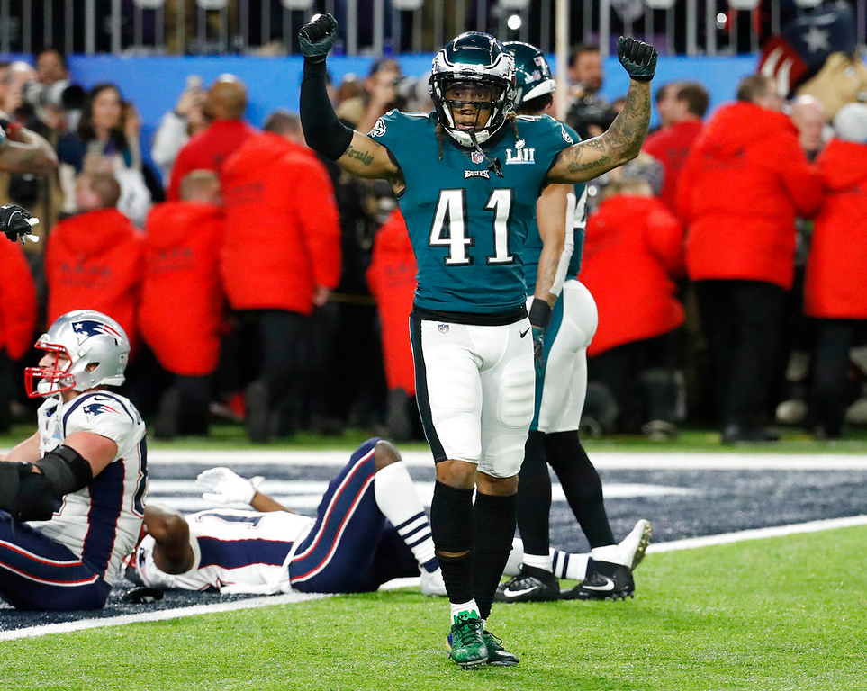. Philadelphia Eagles\' Ronald Darby celebrates after the NFL Super Bowl 52 football game against the New England Patriots Sunday, Feb. 4, 2018, in Minneapolis. The Eagles won 41-33. (AP Photo/Matt York)