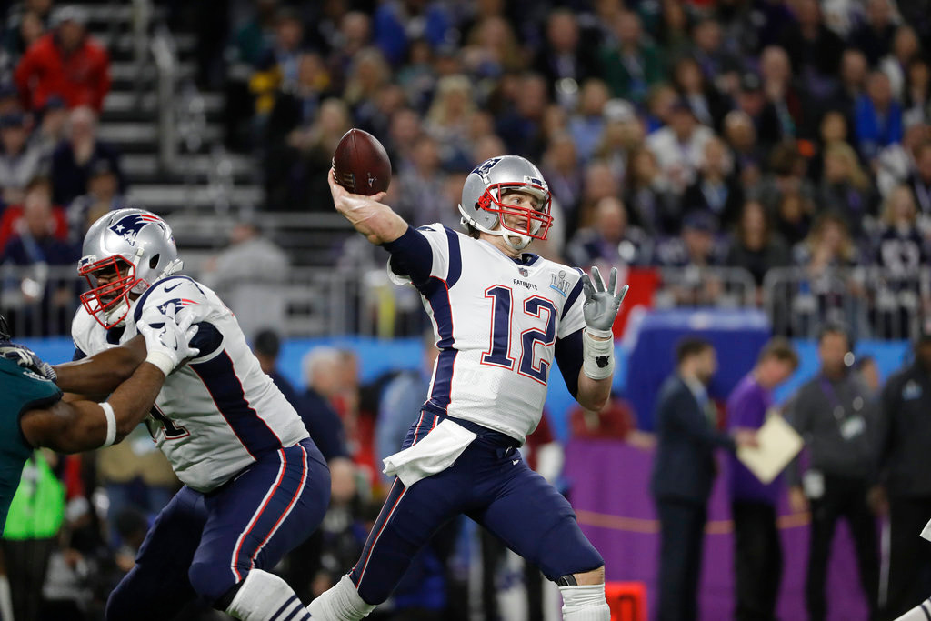 . New England Patriots\' Tom Brady passes during the second half of the NFL Super Bowl 52 football game against the Philadelphia Eagles Sunday, Feb. 4, 2018, in Minneapolis. (AP Photo/Matt Slocum)