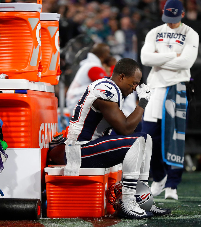 . New England Patriots\' Matthew Slater sits near the bench during the second half of the NFL Super Bowl 52 football game against the Philadelphia Eagles Sunday, Feb. 4, 2018, in Minneapolis. (AP Photo/Jeff Roberson)