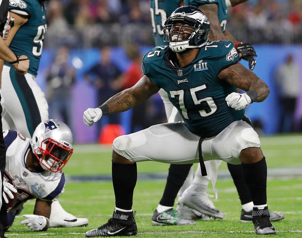 . Philadelphia Eagles\' Vinny Curry reacts after stopping New England Patriots\' Dion Lewis during the second half of the NFL Super Bowl 52 football game Sunday, Feb. 4, 2018, in Minneapolis. (AP Photo/Matt Slocum)