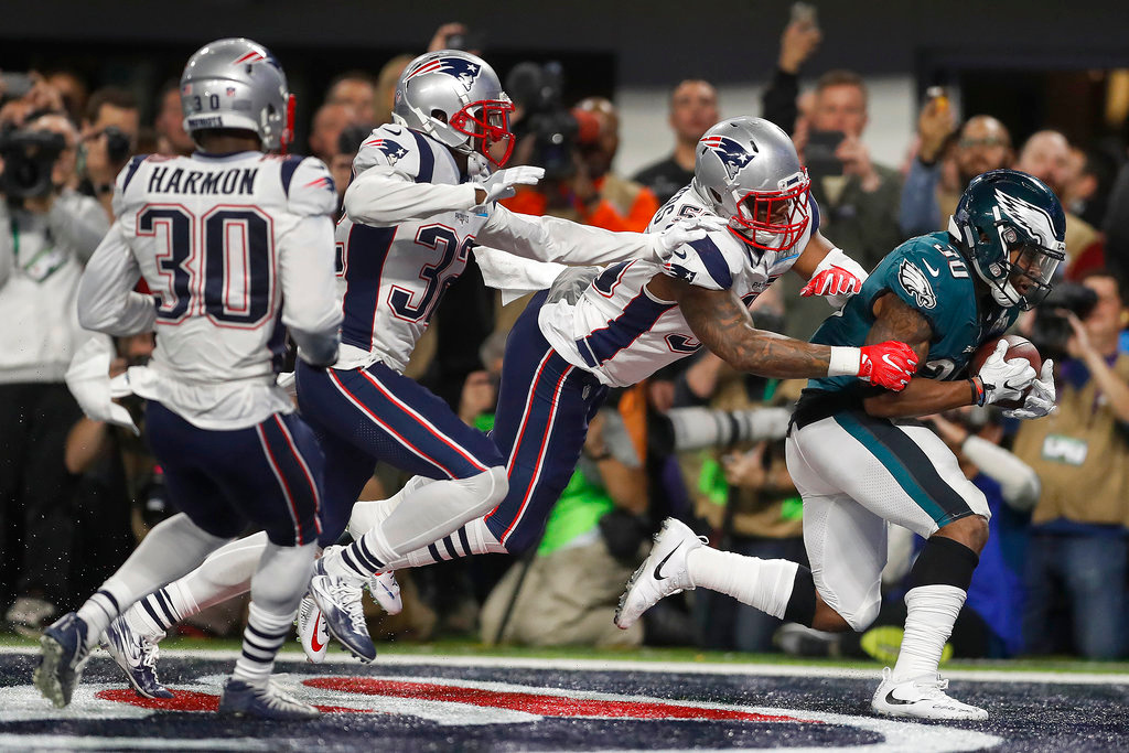 . Philadelphia Eagles\' Corey Clement catches a touchdown pass during the second half of the NFL Super Bowl 52 football game against the New England Patriots Sunday, Feb. 4, 2018, in Minneapolis. (AP Photo/Jeff Roberson)