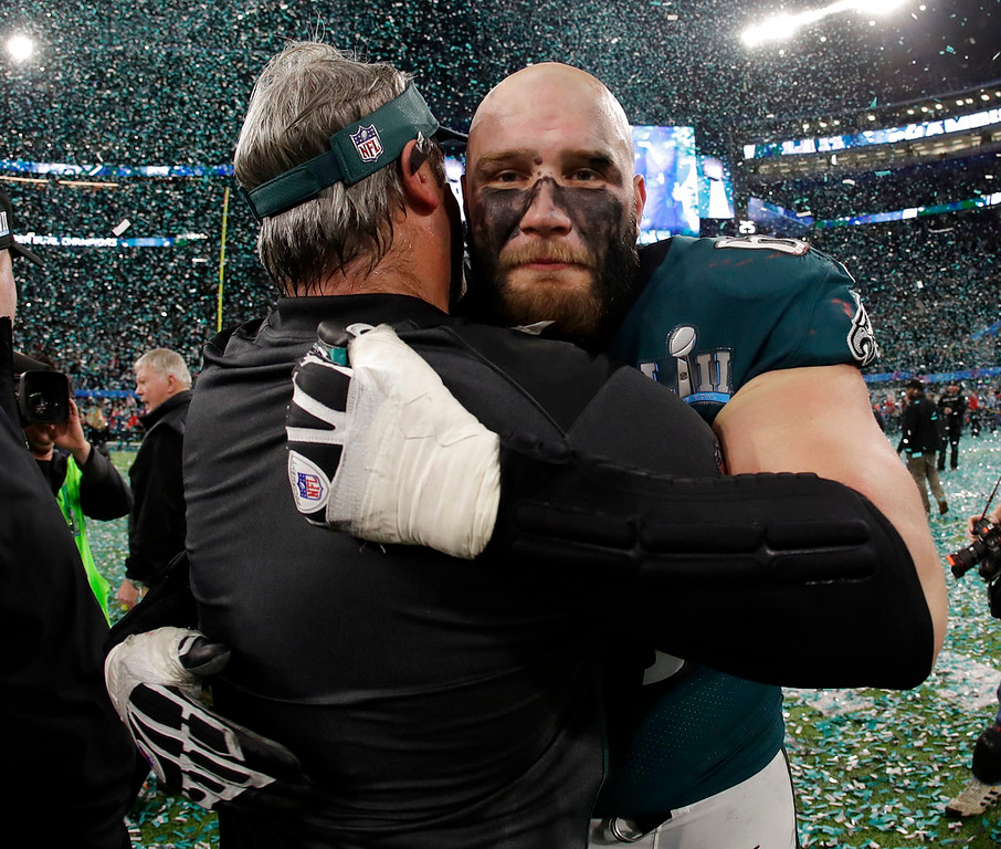 . Philadelphia Eagles\' Lane Johnson, right, celebrates after the NFL Super Bowl 52 football game against the New England Patriots Sunday, Feb. 4, 2018, in Minneapolis. The Eagles won 41-33. (AP Photo/Matt Slocum)