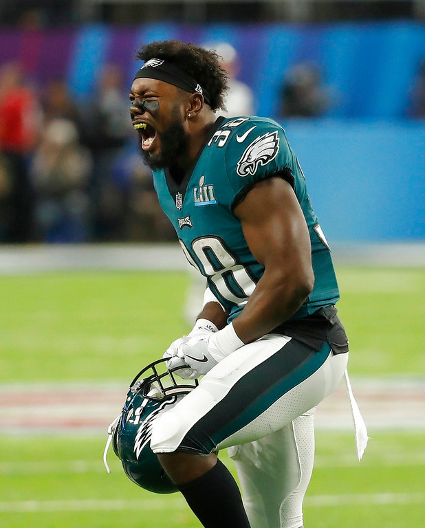 . Philadelphia Eagles\' Kenjon Barner celebrates during the second half of the NFL Super Bowl 52 football game against the New England Patriots Sunday, Feb. 4, 2018, in Minneapolis. (AP Photo/Charlie Neibergall)