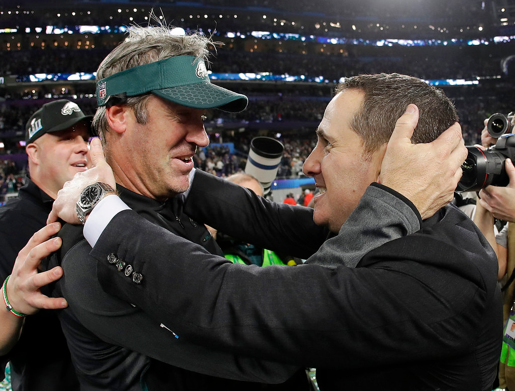 . Philadelphia Eagles head coach Doug Pederson left, celebrates after the NFL Super Bowl 52 football game against the New England Patriots Sunday, Feb. 4, 2018, in Minneapolis. The Eagles won 41-33. (AP Photo/Matt Slocum)