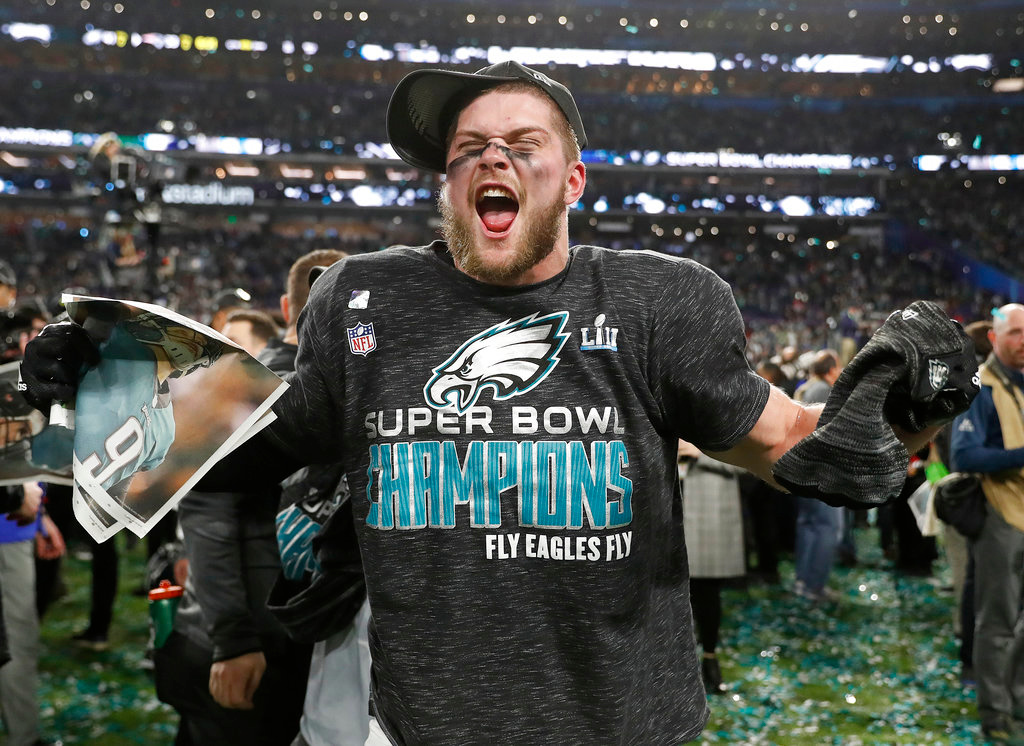 . Philadelphia Eagles\' Nate Gerry celebrates after the NFL Super Bowl 52 football game against the New England Patriots Sunday, Feb. 4, 2018, in Minneapolis. The Eagles won 41-33. (AP Photo/Jeff Roberson)