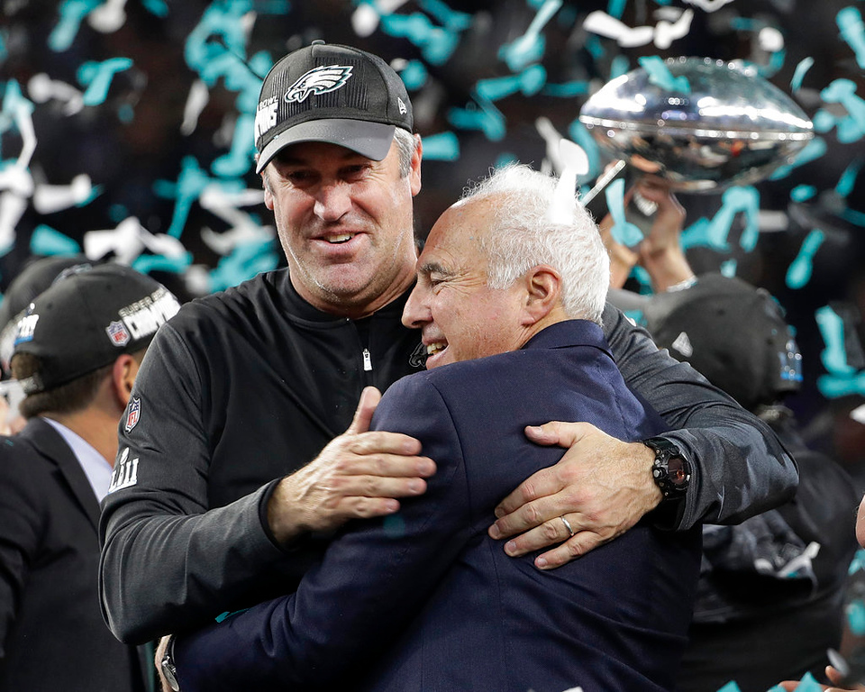 . Philadelphia Eagles owner Jeffrey Lurie, right, and head coach Doug Pederson celebrate after the NFL Super Bowl 52 football game against the New England Patriots, Sunday, Feb. 4, 2018, in Minneapolis. The Eagles won 41-33. (AP Photo/Chris O\'Meara)