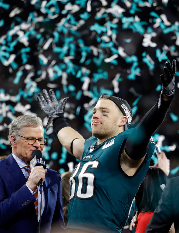 . Philadelphia Eagles\' Zach Ertz celebrates after the NFL Super Bowl 52 football game against the New England Patriots Sunday, Feb. 4, 2018, in Minneapolis. The Eagles won 41-33. (AP Photo/Chris O\'Meara)