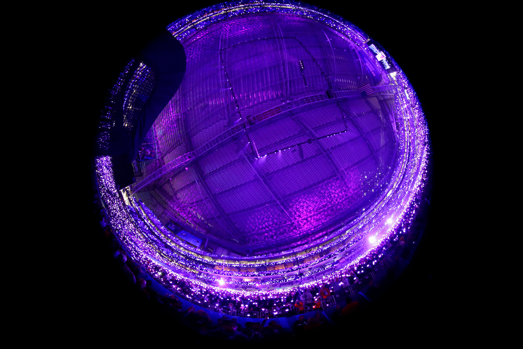 . In this photo taken with a fisheye lens, Justin Timberlake performs during halftime at the NFL Super Bowl 52 football game between the Philadelphia Eagles and the New England Patriots, Sunday, Feb. 4, 2018, in Minneapolis. (AP Photo/Frank Franklin II)