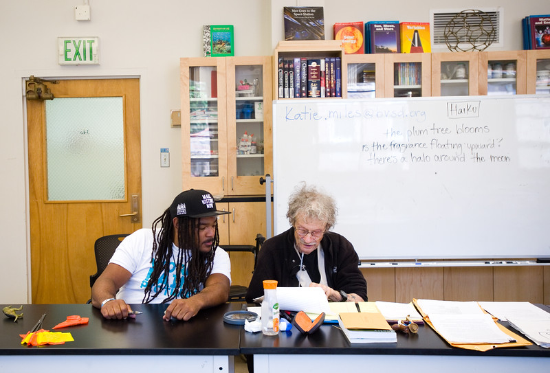 "Instructor Jovan Mays (left) reviews writing with Jack Collom during 'Tell Your Story,' a summer program that incorporates writing, performance and art, at CU Boulder on Wednesday.<br /> More photos:  <a href=""http://www.dailycamera.com"">http://www.dailycamera.com</a><br /> (Autumn Parry/Staff Photographer)<br /> June 29, 2016"
