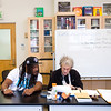 """Instructor Jovan Mays (left) reviews writing with Jack Collom during """"Tell Your Story,"""" a summer program that incorporates writing, performance and art, at CU Boulder on Wednesday.<br /> More photos:  <a href=""""http://www.dailycamera.com"""">http://www.dailycamera.com</a><br /> (Autumn Parry/Staff Photographer)<br /> June 29, 2016"""