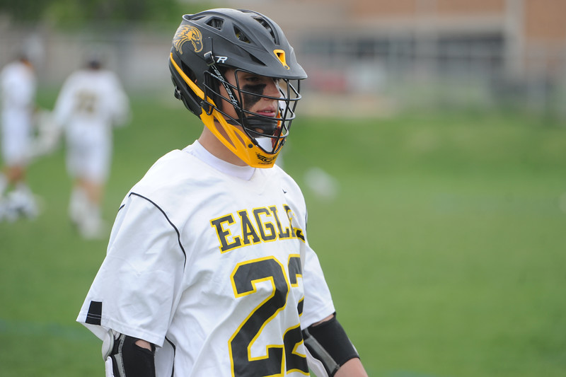 Thompson Valley's Evan Vaughn waits for the start of a 4A state quarterfinal game against Cheyenne Mountain on Friday, May 11, 2018 at Patterson Stadium. (Sean Star/Loveland Reporter-Herald)