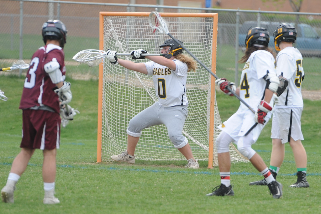 . Thompson Valley goalie Corbin Shilling makes a save during a 4A state quarterfinal game against Cheyenne Mountain on Friday, May 11, 2018 at Patterson Stadium. (Sean Star/Loveland Reporter-Herald)