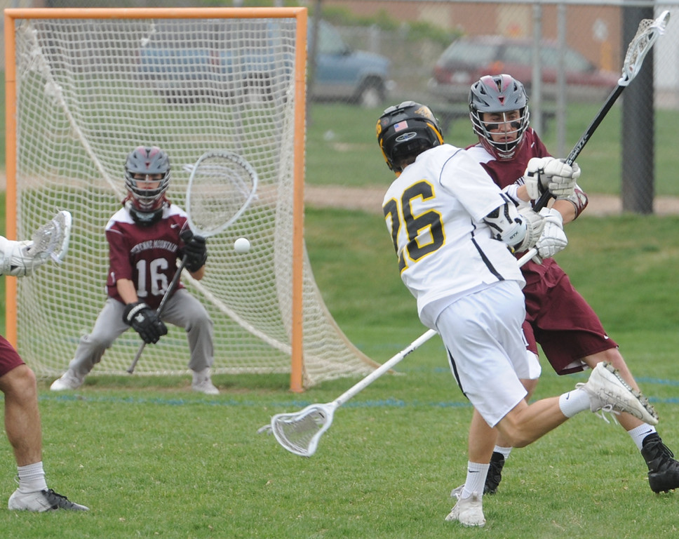 Thompson Valley's Greg Bilek fires a ball past Cheyenne Mountain goalie Liam Hybl during a 4A state quarterfinal game on Friday, May 11, 2018 at Patterson Stadium. (Sean Star/Loveland Reporter-Herald)