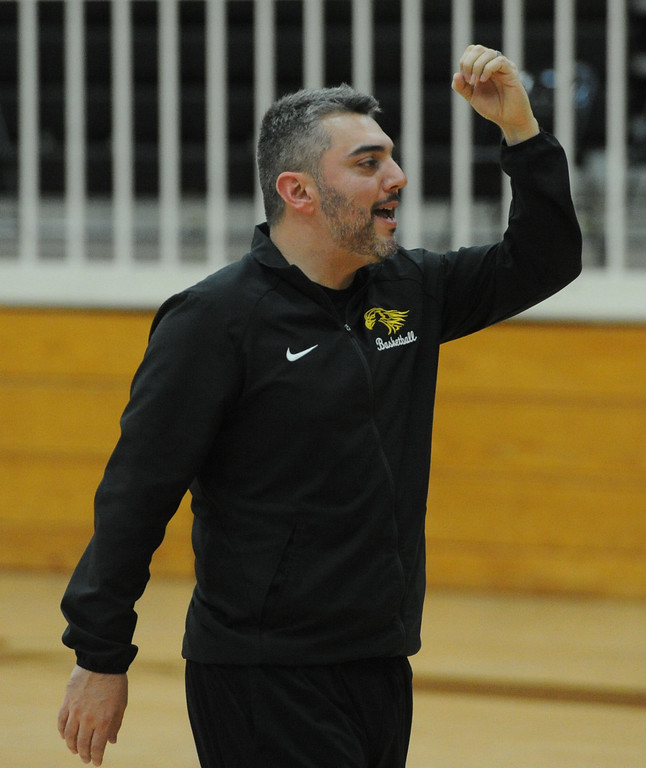 . Thompson Valley boys basketball coach Joe Johnson gives his team some instruction during a recent practice at TVHS.