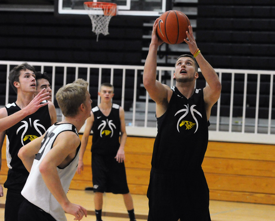 . Thompson Valley\'s Joey Shaffer goes up for a layup during a recent practice at TVHS.
