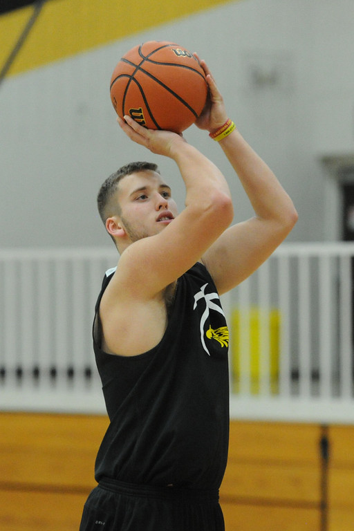 . Thompson Valley\'s Joey Shaffer takes a shot during a recent practice at TVHS.