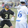 Thompson Valley's Colby Mauck defends Dawson's Aidan Abram during a game on Thursday, April 19, 2018 at Dawson School in Lafayette, Colorado. (Sean Star/Loveland Reporter-Herald)