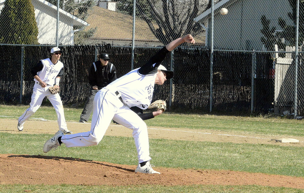 . Thompson Valley starter Aiden Schultz delivers a pitch in the second inning of Monday\'s game with Mountain View at Constantz Field. (Mike Brohard/Loveland Reporter-Herald)